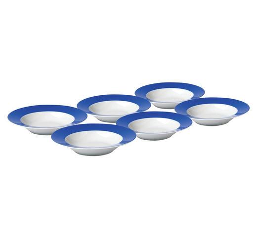 SUPPENTELLERSET Porzellan  6-teilig  - Blau/Weiß, Basics, Keramik (22cm)