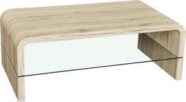 COUCHTISCH in Glas, Holzwerkstoff 110/60/40 cm - Eichefarben, Design, Glas/Holzwerkstoff (110/60/40cm) - Xora