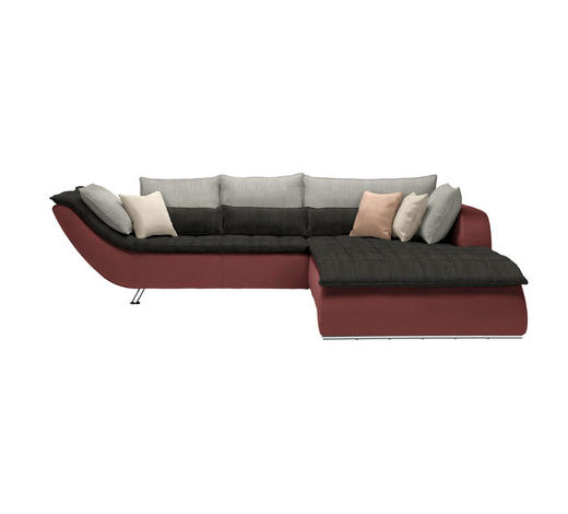 WOHNLANDSCHAFT in Textil Grau, Altrosa - Chromfarben/Hellgrau, Design, Textil/Metall (300/220cm) - Hom`in
