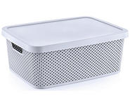 AUFBEWAHRUNGSBOX    38,5/28/15,5 cm  - Hellgrau, Basics, Kunststoff (38,5/28/15,5cm) - Homeware