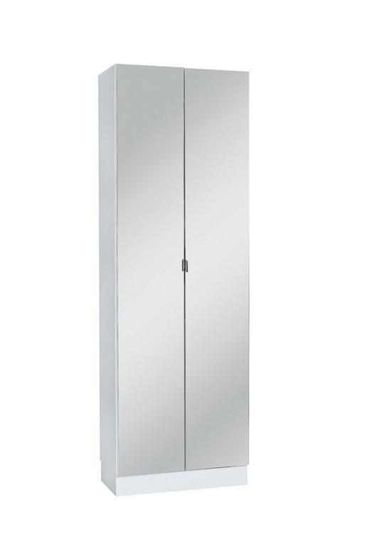 HOCHSCHRANK - Chromfarben/Weiß, KONVENTIONELL, Glas/Holzwerkstoff (65/195,5/33cm) - XORA