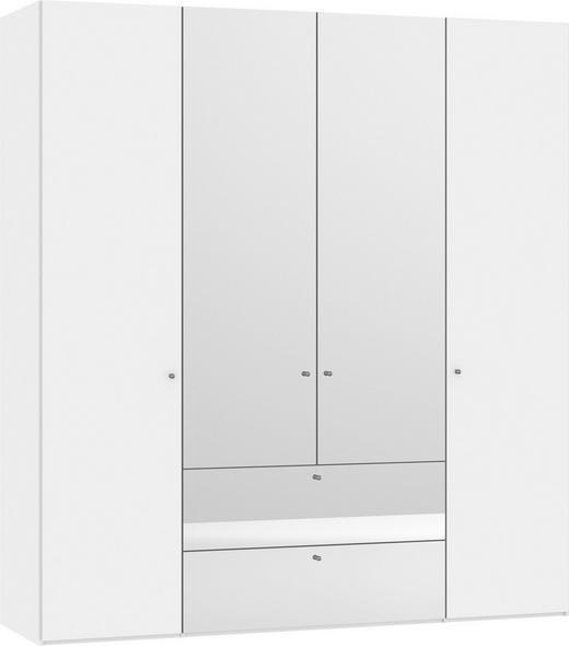 KLEIDERSCHRANK 4-türig Weiß - Silberfarben/Weiß, Design, Glas/Holzwerkstoff (202,5/220/58,5cm) - Jutzler