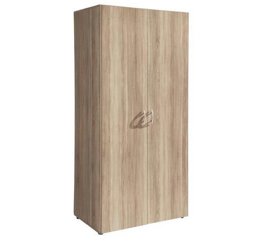 OMARA S KLASIČNIMI VRATI, hrast  - aluminij/hrast, Basics, umetna masa/leseni material (80/177/52cm) - Boxxx
