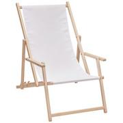 STRANDSESSEL - Buchefarben/Weiß, Design, Holz/Textil (56/66/103cm)
