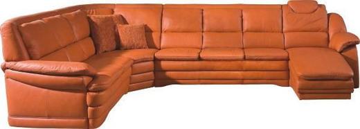 WOHNLANDSCHAFT Echtleder Orange - Schwarz/Orange, KONVENTIONELL, Leder/Kunststoff (251/362/164cm) - Himolla