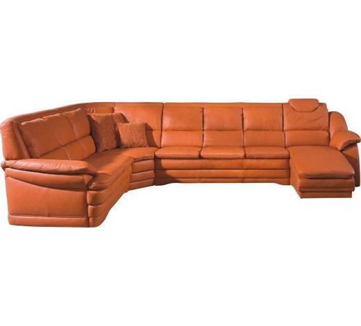 WOHNLANDSCHAFT in Leder Orange  - Schwarz/Orange, KONVENTIONELL, Leder/Kunststoff (251/362/164cm) - Himolla