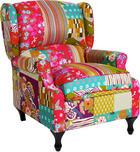 fotelja - višebojno/crna, Design, tekstil/drvo (77/96/93cm) - HOM IN