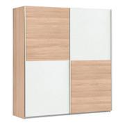 SCHWEBETÜRENSCHRANK in Sonoma Eiche, Weiß - Alufarben/Weiß, Design, Holzwerkstoff/Metall (170,3/190,5/61,2cm) - Carryhome
