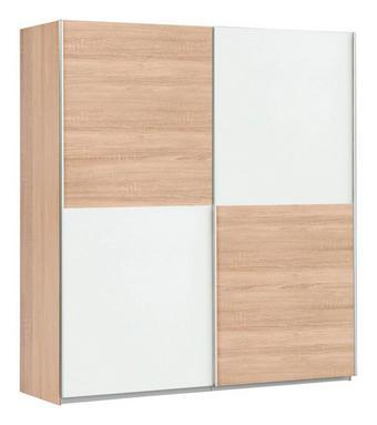 SKŘÍŇ S POSUVNÝMI DVEŘMI - bílá/Sonoma dub, Design, kov/dřevěný materiál (170,3/190,5/61,2cm) - CARRYHOME