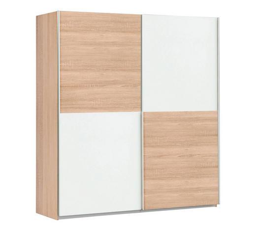 SKŘÍŇ S POSUVNÝMI DVEŘMI, bílá, Sonoma dub - bílá/Sonoma dub, Design, kov/kompozitní dřevo (170,3/190,5/61,2cm) - Carryhome