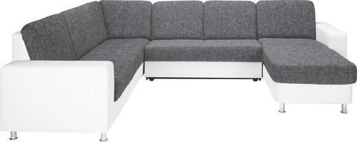 WOHNLANDSCHAFT Lederlook, Webstoff - Dunkelgrau/Alufarben, KONVENTIONELL, Textil/Metall (229/303/167cm) - Xora