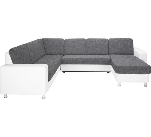 WOHNLANDSCHAFT Weiß, Dunkelgrau Lederlook, Webstoff  - Dunkelgrau/Alufarben, KONVENTIONELL, Textil/Metall (229/303/167cm) - Xora