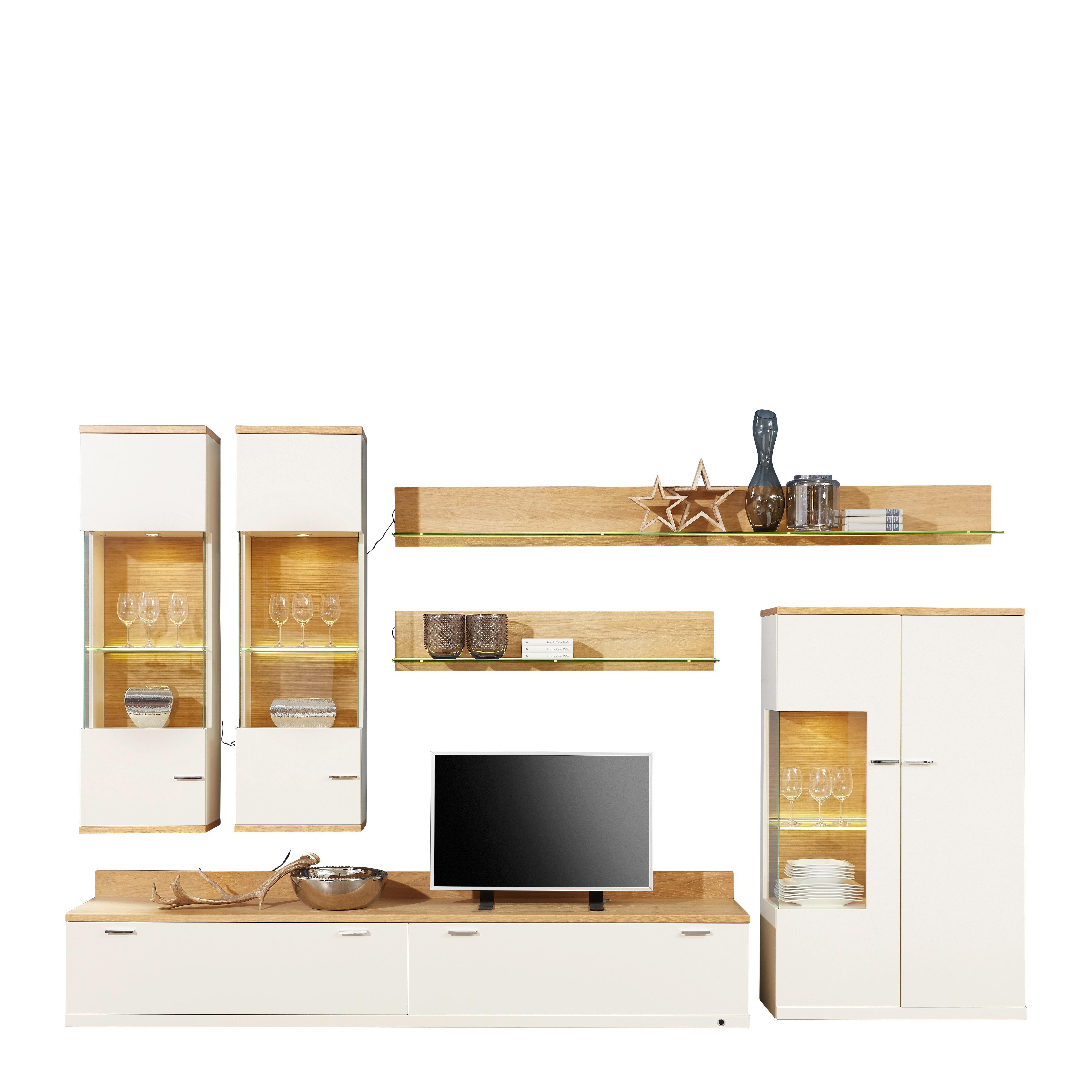 WOHNWAND Eiche Furniert Creme, Eichefarben   Chromfarben/Eichefarben,  Design, Glas/Holz