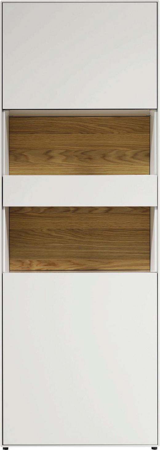 VITRINE Eichefarben, Weiß - Eichefarben/Schwarz, Design, Glas/Holzwerkstoff (64/179,2/44,8cm) - Now by Hülsta