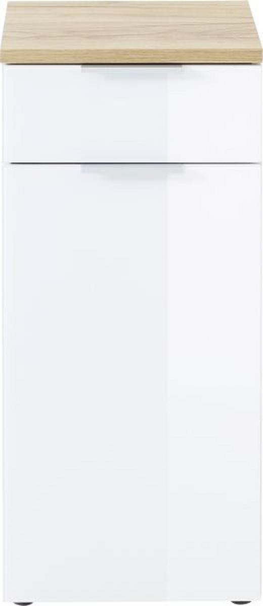 UNTERSCHRANK Weiß - Edelstahlfarben/Eichefarben, Design, Glas/Holzwerkstoff (39/85/34cm) - Xora
