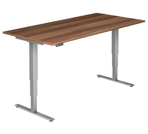 SCHREIBTISCH - Silberfarben/Zwetschgefarben, KONVENTIONELL, Holzwerkstoff/Metall (200/63,5-128,5/100cm)