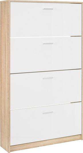 SKOSKÅP MED LUCKOR - vit/kromfärg, Design, träbaserade material/plast (93/162/25cm)