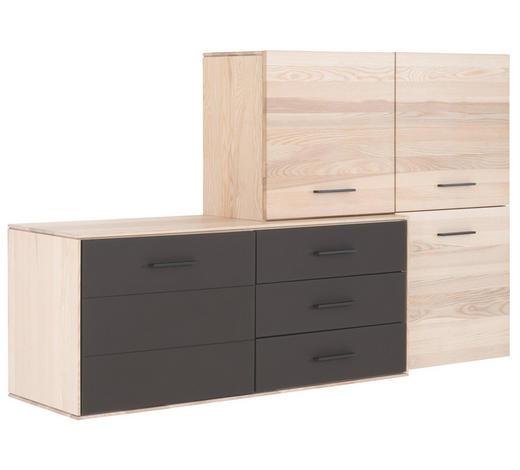 KOMMODE 181,7/108,6/44 cm  - Eschefarben/Dunkelbraun, Design, Glas/Holz (181,7/108,6/44cm) - Valdera