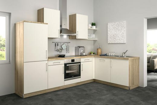 Eckküche ohne E-Geräte - Eichefarben/Magnolie, Design (285/185cm) - Set one by Musterrin