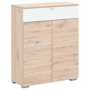 SCHUHSCHRANK 80/100/34 cm - Eichefarben/Silberfarben, Design, Holzwerkstoff/Metall (80/100/34cm) - Cassando