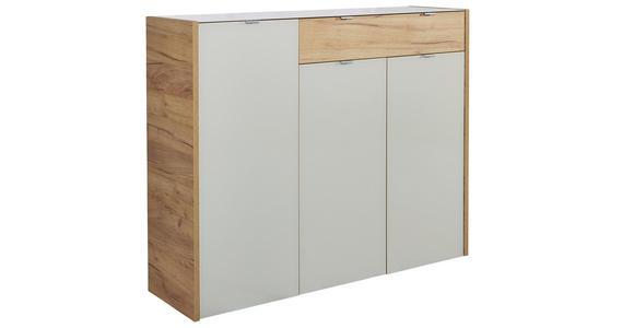 SIDEBOARD Eichefarben, Kaschmir  - Kaschmir/Eichefarben, KONVENTIONELL, Glas/Holzwerkstoff (134/110/40cm) - Voleo