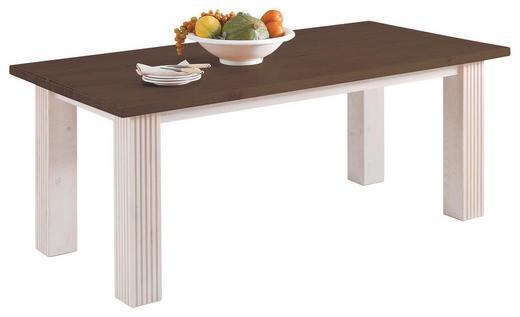 ESSTISCH Kiefer massiv rechteckig Dunkelbraun, Weiß - Dunkelbraun/Weiß, Design, Holz (180/90/74cm) - CARRYHOME