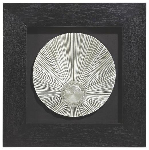 Abstraktes, Strukturen BILD - Silberfarben/Schwarz, Basics, Glas/Holz (60/60cm) - Monee