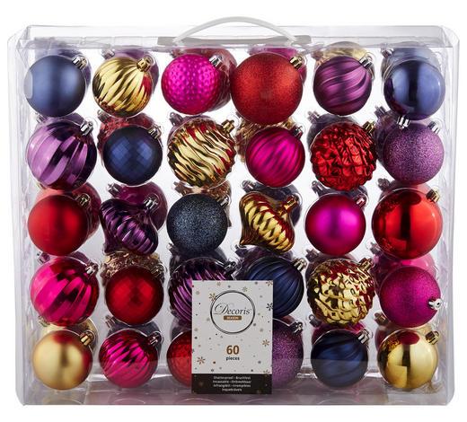 CHRISTBAUMKUGEL-SET 60-teilig Rosa, Rot, Goldfarben, Violett, Dunkelblau  - Rot/Violett, Kunststoff - X-Mas