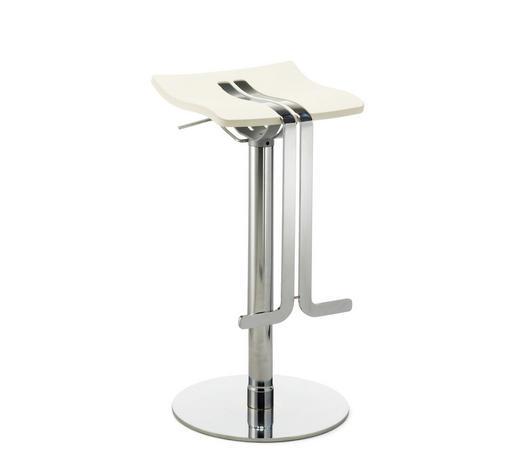 BARHOCKER in Metall, Kunststoff Weiß, Chromfarben  - Chromfarben/Weiß, Design, Kunststoff/Metall (36/58-85/34cm)