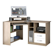 KOTNA PISALNA MIZA leseni material bela, hrast - aluminij/bela, Design, kovina/leseni material (130/83/91cm) - BOXXX