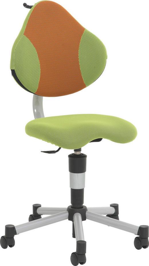 JUGENDDREHSTUHL Netz Grün, Orange - Orange/Grün, Basics, Kunststoff/Textil - Paidi