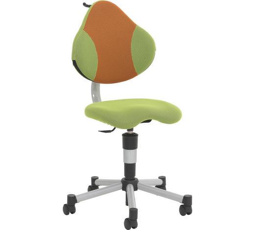 OTOČNÁ ŽIDLE, zelená, oranžová, síť - oranžová/zelená, Basics, kov/textil (45/86-100/53cm) - Paidi
