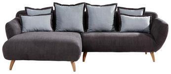WOHNLANDSCHAFT in Textil Hellblau, Dunkelgrau  - Dunkelgrau/Naturfarben, Design, Holz/Textil (175/280cm) - Carryhome