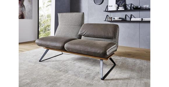 SITZBANK in Holz, Textil, Leder Anthrazit, Braun, Beige  - Anthrazit/Beige, Design, Leder/Holz (164/83-113/74-106cm) - Ambiente