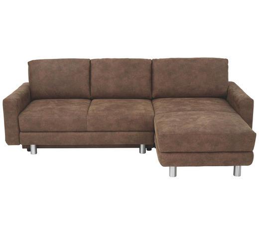 WOHNLANDSCHAFT in Textil Braun  - Alufarben/Braun, KONVENTIONELL, Textil/Metall (240/160cm) - Sedda