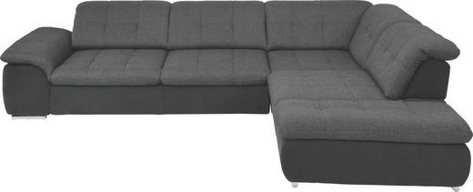 WOHNLANDSCHAFT Anthrazit, Grau, Schwarz - Chromfarben/Anthrazit, Design, Kunststoff/Textil (312/250cm) - Beldomo Style