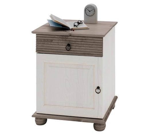 NACHTKÄSTCHEN Kiefer massiv Grau, Weiß  - Weiß/Grau, Design, Holz/Metall (48/60,5/40cm) - Carryhome