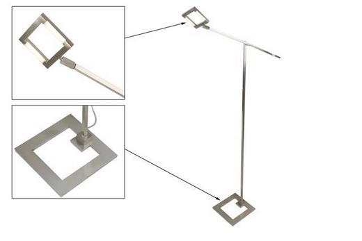 STEHLEUCHTE - Nickelfarben, LIFESTYLE, Glas/Metall (25/MAX 85/174cm)