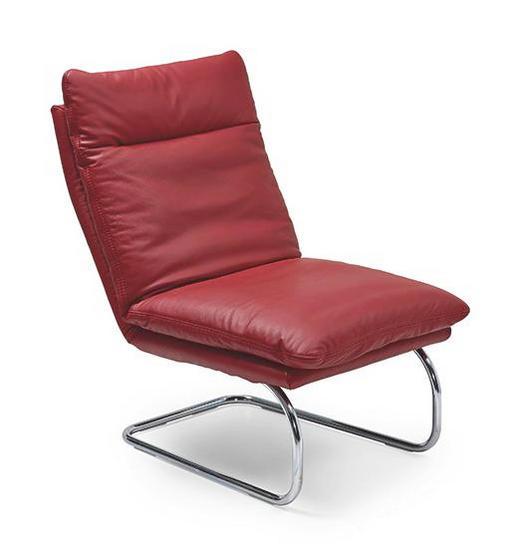 RELAXSESSEL Echtleder - Chromfarben/Rot, Design, Leder/Metall (65/103/85cm) - CHILLIANO