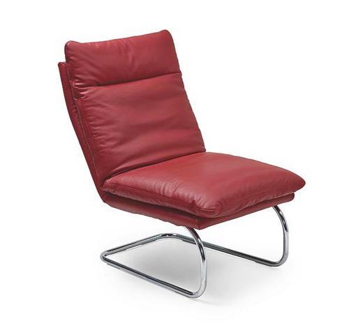 RELAXSESSEL in Leder Rot  - Chromfarben/Rot, Design, Leder/Metall (65/103/85cm) - Chilliano