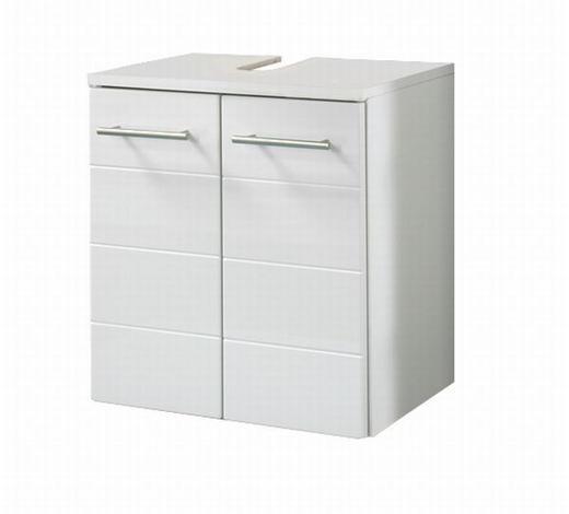 WASCHBECKENUNTERSCHRANK Weiß  - Silberfarben/Weiß, KONVENTIONELL, Holzwerkstoff/Metall (50/53/34cm) - Carryhome