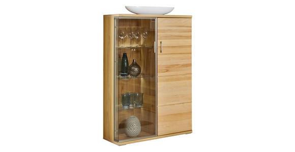 VITRINE in Kernbuche Buchefarben  - Silberfarben/Buchefarben, KONVENTIONELL, Glas/Holzwerkstoff (90/143,4/40,4cm) - Cantus