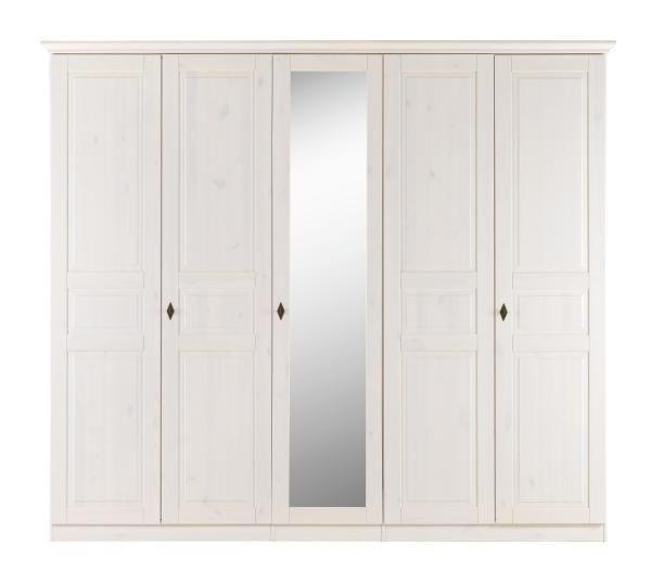 KLEIDERSCHRANK in massiv Kiefer Weiß - Weiß, LIFESTYLE, Glas/Holz (253/220/64cm) - LANDSCAPE