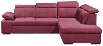 WOHNLANDSCHAFT in Textil Rot  - Silberfarben/Rot, MODERN, Kunststoff/Textil (275/217cm) - Carryhome