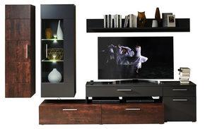 HYLLKOMBINATION - bronsfärgad/kromfärg, Design, metall/glas (300/190/50cm) - Carryhome