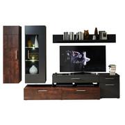 OBÝVACÍ STĚNA, barvy grafitu, rezavá - rezavá/barvy grafitu, Design, kov/kompozitní dřevo (300/190/50cm) - Carryhome