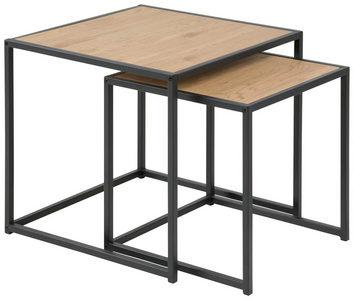 SET POMOĆNIH STOČIĆA - Crna/Boja hrasta, Trendi, Metal/Pločasti materijal (50/45/50cm) - Carryhome
