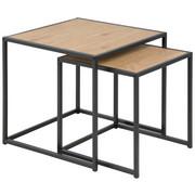SET POMOĆNIH STOLIĆA - boje hrasta/crna, Design, drvni materijal/metal (50/50/45cm) - Carryhome