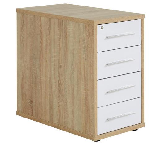 ANSTELLCONTAINER Weiß, Sonoma Eiche  - Silberfarben/Schwarz, Design, Kunststoff (43,8/75,6/80cm) - Voleo
