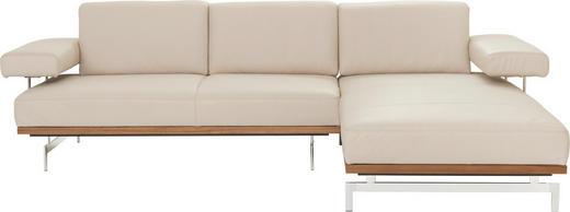 WOHNLANDSCHAFT Echtleder Beige - Beige/Alufarben, Design, Leder/Metall (295/237cm) - Joop!